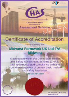 CHAS Certificate | Accreditations | Midwest Formwork (UK) Ltd