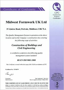 CPC UKAS Certificate | Accreditations | Midwest Formwork (UK) Ltd