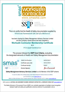 SMAS Worksafe Contractor | Accreditations | Midwest Formwork (UK) Ltd