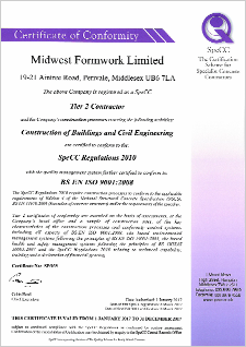 SpeCC Certificate | Accreditations | Midwest Formwork (UK) Ltd